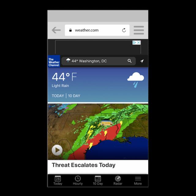 Die Progressive Web App von The Weather Channel - pwa bar